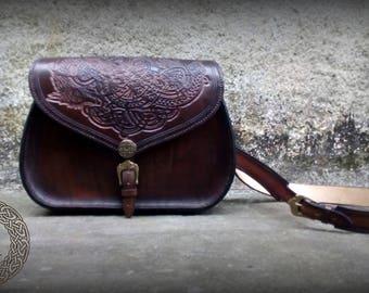 Brown Leather Celtic Dragon Shoulder Bag
