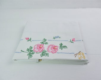 Hand embroidered pillow cases, pair, white cotton, pink flowers and yellow butterflies, housewife