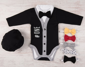 First Birthday Boy Outfit, #ONE Baby Boy Cardigan, Bodysuit, Hat & Bow Tie Set, One Year Old Boy Birthday Outfit, 1st Birthday