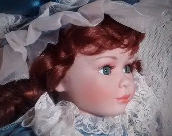 Vintage Porcelain Handcrafted 22 Inch Doll from 1st Impressions – Dark Auburn Hair and Blue Eyes