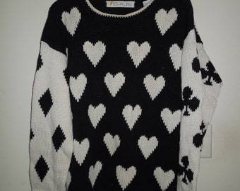 Vintage Chaus Black and Ivory Ramie/Cotton Sweater w/Card Suits Hearts, Spades, Diamonds and Clubs Medium
