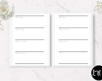 Printable Horizontal Week on two Pages Insert – WO2PHV1 - ITEM#169 – Mini Happy Planer, Classic Happy Planner, Big Happy Planner - 3 Sizes