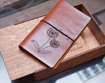 Leather notebook moleskine notebook leather journal personalized notebook travel notebook Butterflies Dandelions custom leather notebook