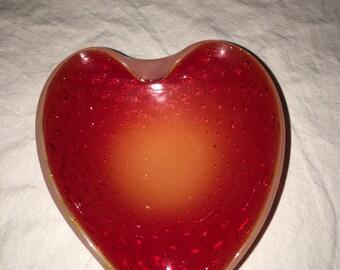 Vintage Murano Red/Orange Heartshaped Bubble Glass Dish/Ashtray