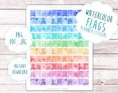 Watercolor Flags Sticker Printable   Functional Planner Printables, Rainbow Planner Flags, Colorful Stickers, Watercolor Pattern Stickers
