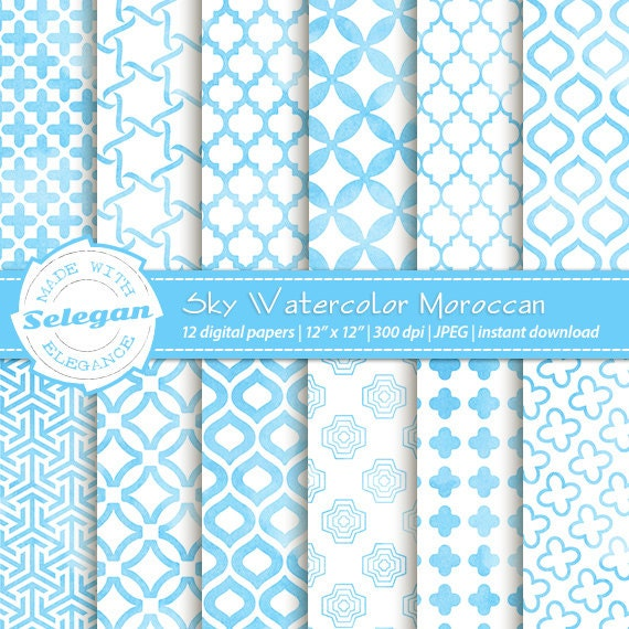 water colour print sky watercolor moroccan watercolour scrapbook pages digital water color paper watercolor pattern background printable from selegan on - Colored Paper Printable