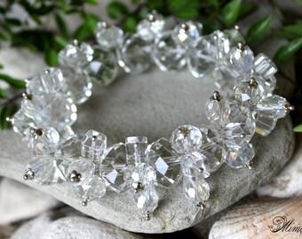 Crystal Bracelet, Wedding Bracelet, Bridal Bracelet, Chunky Bracelet, Rhinestone Bracelet, Cluster Bracelet, Clear Crystal Bracelet