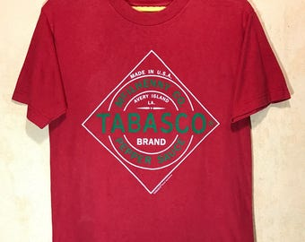Vintage TABASCO Brand Sportwear McILHENNY CO. T-Shirt Adults Medium Size