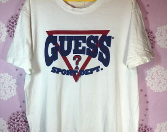 90s Vintage 1996 GUESS Big Logo Spell Out T-shirt Large Adult Hip Hop Swag