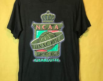 90s Vintage 1994 NCAA Final Four CHARLOTTE Basketball Championships By Logo 7 Tshirt Medium Size