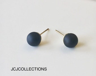 Matte Round Stud Earrings