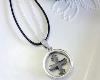SALE... Leather and Silver Cross Necklace