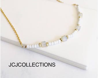 White turquoise & Crystal Bar Necklace
