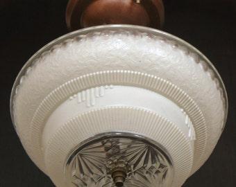 Vintage Lighting: Circa 1930s deco glass centre post light fixture