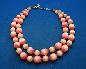 Vintage Lisner Double Strand Chunky Pink Lucite Bead Adjustable Necklace