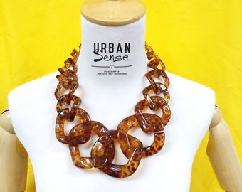 Chunky Link Tortoise Oversized Chain Necklace, Statement Necklace, Bib Necklace, Bridesmaids Necklace, Fashion Party Necklace