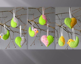 Set of 3 Easter ornaments. Embroidered felt Easter ornaments. Easter tree decor. Spring ornaments. Spring decorations. Easter egg ornaments