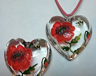 Poppies Hand Painted Glass Heart Pendant, Poppy Flower, Bees, Bumblebee, Choker, Necklace, Gift For Mum, Her, Art Lover, Bespoke Jewellery