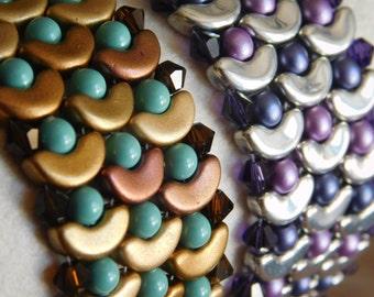 Bead Bracelet Tutorial, Beading Pattern, Dragon Scale Bracelet, Arcos Beads, Swarvoski Bicones, Beadweaving, Mermaid, Seed Beads, PDF
