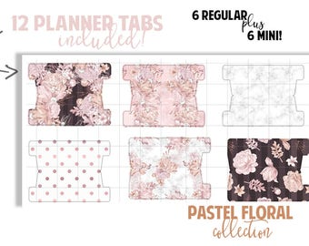 Planner Page Tabs : PASTEL FLORAL COLLECTION | Set of 12 Planner Tabs | DreamPlanRepeat