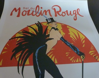 """Rene Gruau lithographic poster printed in 1985 . French publicity Poster for the show """"Femmes, femmes femmes Bal du Moulin Rouge"""""""