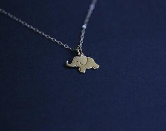 Gold Elephant Necklace - Elephant necklace - Lucky Necklace - Gold Filled Chain - Golden Elephant Charm Necklace - Yoga Jewelry