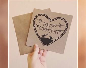 Happy Birthday Brown Recycled Card - Orignal Papercut Design