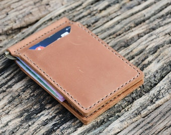 Leather money clip wallet for men with 4 card pockets. It's a super comfortable wallet for currency and has a pretty small size.