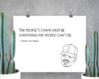 Chance the Rapper print - Custom print, coloring book, acid rap, Chancelor Bennett, rap, Chicago, chance the rapper lyrics, wall art, music