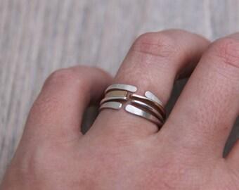 Mixed Metal ringe, dünne Stapel Ringe, offener Ring, mix and match ringe, anpassbarer Ring, Vorsteckring,