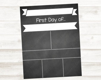 Blank, DIY Back To School Printable Chalkboard Template, 8x10, 16x20, Personal & Commercial Use, Instant Download!