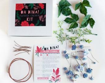 DIY Kit de couronne fleur bleu, faire votre propre Couronne de fleurs, accessoire de mariage bleu, quelque chose de bleu