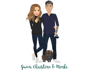 Simple Illustrated Couple Portraits (Digital File)  Anniversary   Personalised Gift   Wedding Gift   Gifts For Couples   Couple Illustration