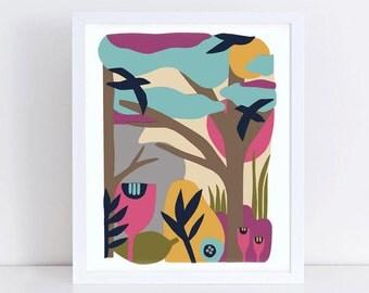 Scandinavian print, landscape print, mid century modern, minimalist art, landscape, colorful wall art, bird, trees, pink, blue, yellow
