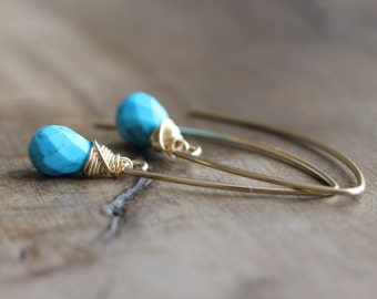 Turquoise earrings, 14k gold filled turquoise earrings, turquoise dangle earrings, turquoise jewelry, gift for her, long drop earrings