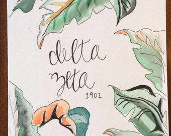 Delta Zeta Watercolor Print
