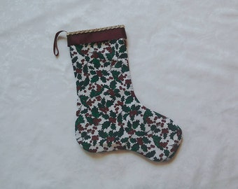 Christmas stocking, holly, Christmas decoration, fireplace decoration, red, white, green, adult stocking, Victorian look