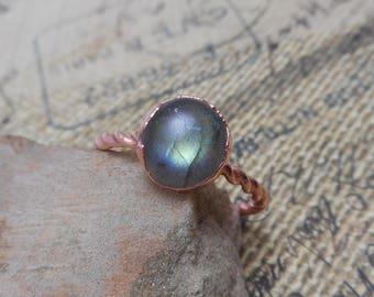 Green Labradorite Copper Electroformed Ring - Labradorite Ring -