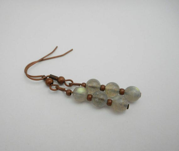 Labradorite Round Beads Copper Earrings