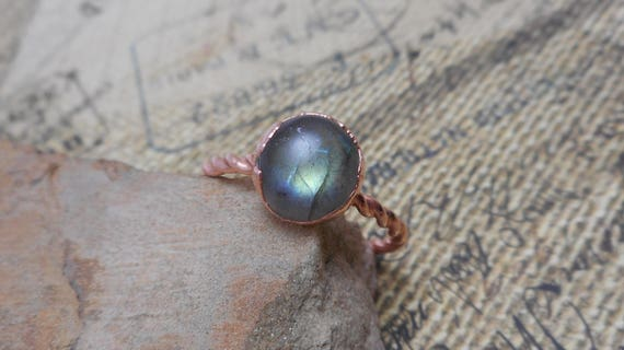 Green Labradorite Copper Electroformed Ring - Labradorite Ring - Rustic Ring