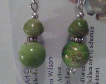 Beaded earrings, green acrylic earrings, drop earrings, dangle earrings