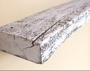 """24"""" x 5"""" deep Shabby White """"Rustic White"""" Floating Shelf: Reclaimed Weathered Oak Barn Wood"""