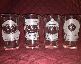 4 Hand Etched South Park Character Pint Glasses!