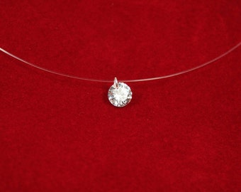 Solitaire Necklace Invisible Cord Crystal Pendant Single Bead floating illusion Translucent. Bridal Necklaces, Wedding Necklace