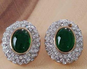Vintage Emerald & Rhinestone Clip On Stud Earrings