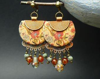 Earrings clip ethnic-Asian - fabric Japanese flowers