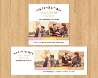 Facebook Like, Share, comments Marketing Board | Facebook Promotion Ad |  Photoshop & Elements Template | Instant Download