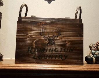 Ammo box, remington country, deer, wooden ammo box, keepsake box, military box