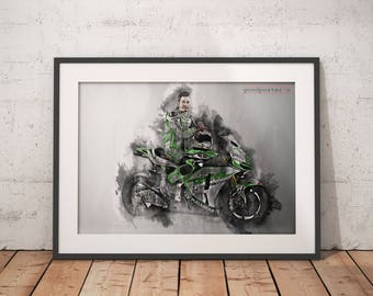 Nicky Hayden print Nicky Hayden poster 69 moto GP wall art home decor
