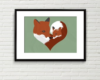 Fox print, fox nursery art, fox art print, illustration, woodland animal, mother's day, forest animal, wall art, Scottish art, digital art